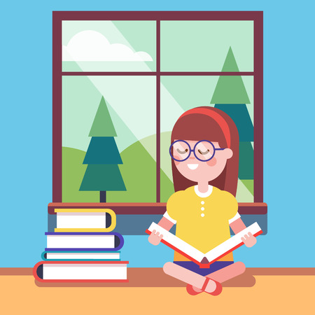 smart girl: Smart girl in glasses reading a big book at the window. Smiling kid character. Modern flat vector illustration clipart. Illustration