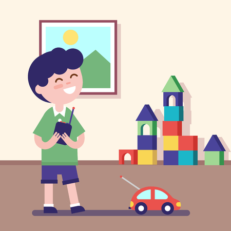 son of man: Boy playing with rc car with remote control in hands. Modern flat vector illustration clipart.