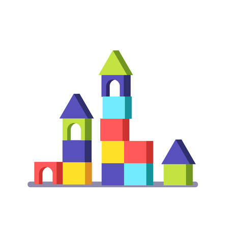 Wooden block building game castle. Modern flat vector illustration clipart.
