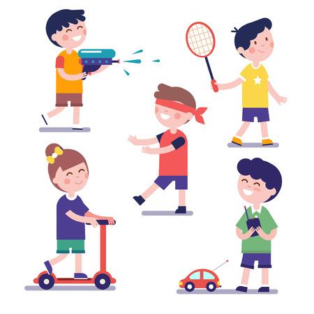 Diverse spelende kinderen in te stellen. Moderne vlakke stijl illustratie. Stripfiguur clipart.