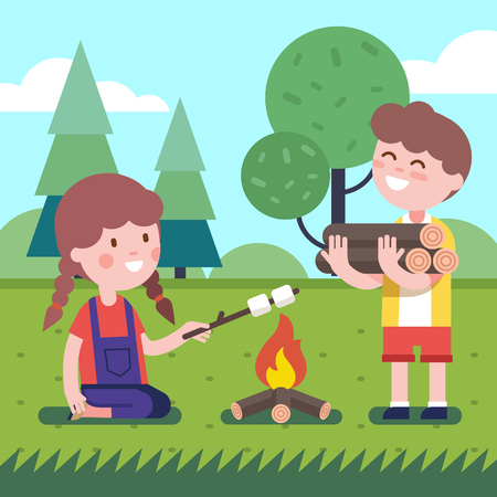 woodfire: Boy brings some firewood at the bonfire. Girl frying her marshmallows on the wooden stick. Modern flat style illustration. Kids cartoon character clipart. Illustration