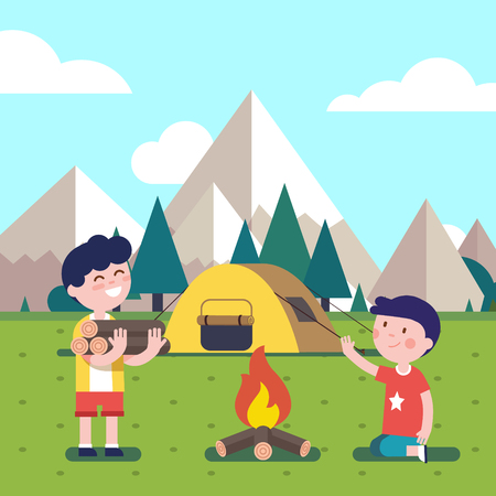 woodfire: Hiking kids at the campfire near their camping tent at the mountain foots. Boy brings some firewood at the bonfire. Modern flat style vector illustration. Cartoon character clipart. Illustration