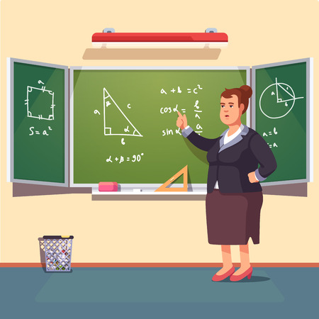Mid age teacher woman giving a trigonometry lecture on a class chalkboard. Flat style color modern vector illustration. Illustration