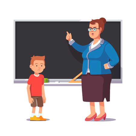 grumble: Grumpy school teacher reprimands guilty sad and bad pupil boy not learned his homework lesson. Flat style color modern vector illustration.