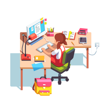 Young school kid girl studying sitting in front of desktop computer at her home desk. Doing homework at home table. Flat style color modern vector illustration. Vettoriali