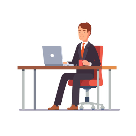Business man entrepreneur in a suit working on a laptop computer at his clean and sleek office desk. Flat style color modern vector illustration. Çizim