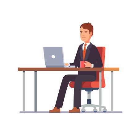 homme d'affaires entrepreneur dans un costume travaillant sur un ordinateur portable à son bureau propre et élégant. Flat couleur de style vecteur moderne illustration.