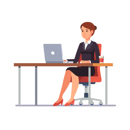woman business suit: Business woman lady entrepreneur in a suit working on a laptop computer at her clean and sleek office desk. Flat style color modern vector illustration.