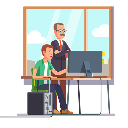 pc icon: Happy boss watching over shoulder of a smiling employee at work. Tired business man. Flat style modern vector illustration.