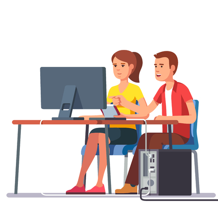 couple together: Business man and woman working together sitting at one desk with desktop computer big monitor. Flat style color modern vector illustration. Illustration