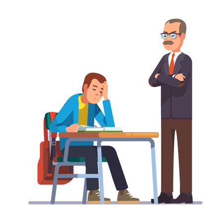 teacher and student: Professor or teacher looking with regret at a sleeping teen student sitting at his school desk. Flat style color modern vector illustration.
