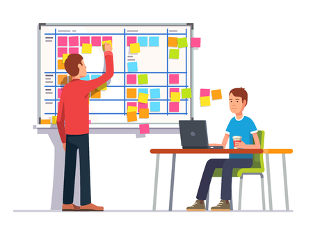 note board: Two developers planning their work. Scrum task board hanging in a team room full of tasks on sticky note cards. Flat style color modern vector illustration.