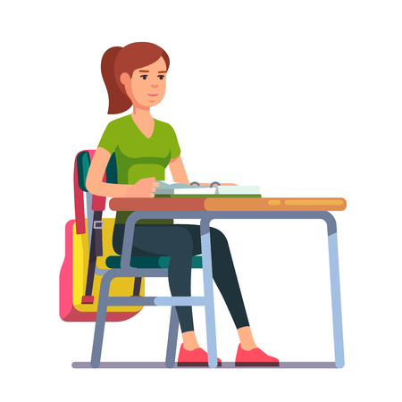 college girl: Teen student girl sitting at her school or college desk. Flat style color modern vector illustration.