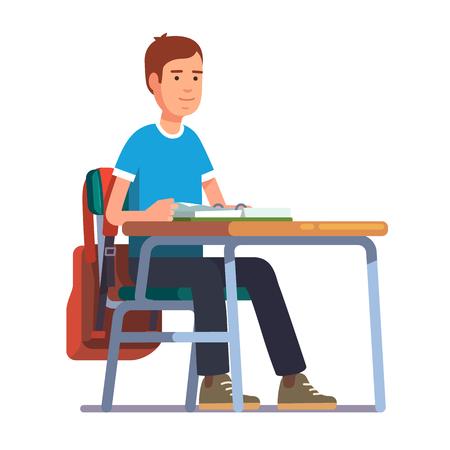 Teen student boy sitting at his school or college desk. Flat style color modern vector illustration. Illustration