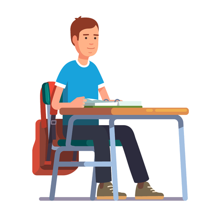 undergraduate: Teen student boy sitting at his school or college desk. Flat style color modern vector illustration. Illustration