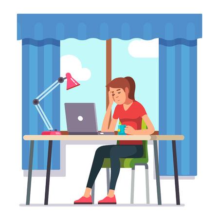 Jonge vrouw viel in slaap werken op laptop computer op haar kantoor aan huis bureau. Flat stijl kleur moderne vector afbeelding. Vector Illustratie