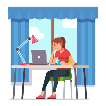 fell: Young woman fell asleep working on laptop computer at her home office working desk. Flat style color modern vector illustration. Illustration