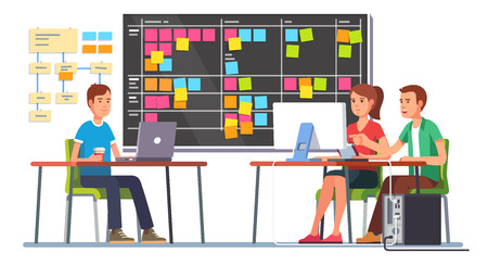 Team working together on a big IT startup business. Programming and planning. Scrum task board hanging in a team room full of tasks on sticky note cards. Flat style color modern vector illustration. Stock Illustratie