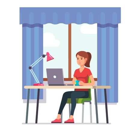 Jeune femme travaillant sur ordinateur portable à son bureau de travail à la maison. Illustration de vecteur moderne style plat couleur.