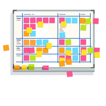 Scrum task board whiteboard hanging in a team room full of tasks on sticky note cards. Scrum board story test driven development process. Flat style color modern vector illustration. Çizim
