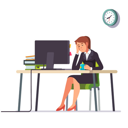fell: Business woman or an accountant in a suit fell asleep working on a laptop computer at her office desk. Flat style color modern vector illustration.