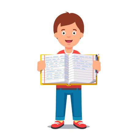 workbook: Cute little boy holding an open school workbook with handwriting. Flat style color modern vector illustration.
