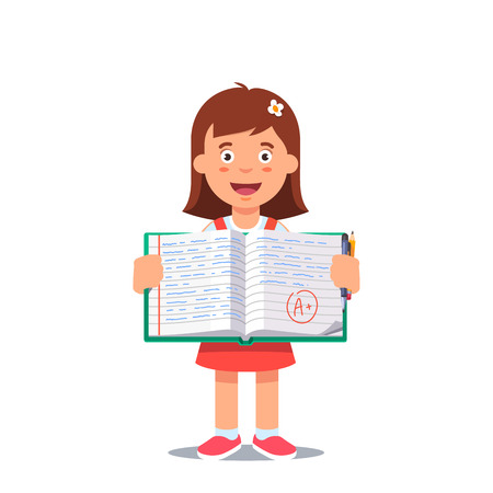 school work: Cute little girl holding an open school work book with handwriting. Flat style color modern vector illustration.