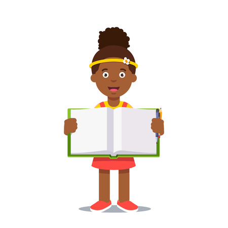 work book: Cute little girl holding an open work book with handwriting. Flat style color modern vector illustration.