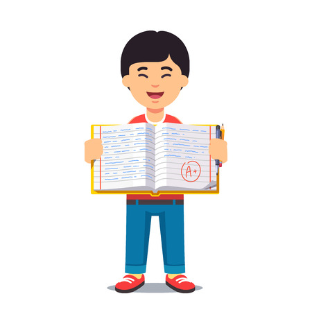 Cute little asian boy holding an open work book with handwriting. Flat style color modern vector illustration.