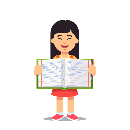 work book: Cute little asian girl holding an open work book with handwriting. Flat style color modern vector illustration. Illustration