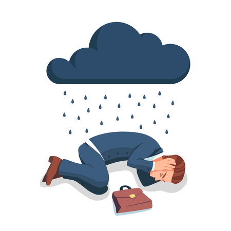 Depressed, sad and frustrated business man lying on the floor in embryo pose and rain is pouring on him from big dark cloud. Crying unemployed businessman. Flat style vector illustration clipart.