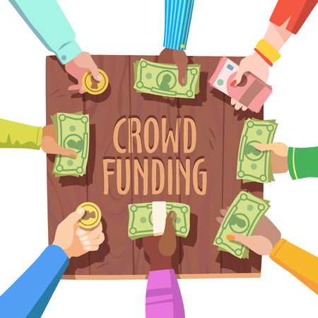 funded: Crowd funding concept. Different people giving cash and coins money on a crowd funded project. Flat style vector illustration clipart. Illustration