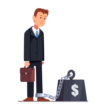 shackles: Business man chained to his big heavy debt weight with shackles. Businessman corporate slavery concept. Flat style vector illustration clipart.