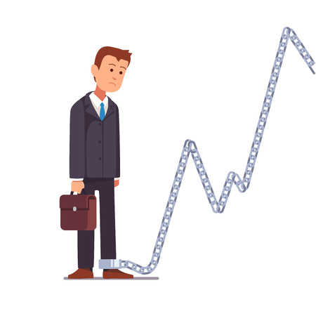 Trader businessman or shareholder chained to a market share chart chain. Business slavery concept. Flat style vector illustration clipart. Illustration