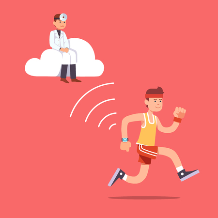 Man running jogging with a wrist smartwatch. Doctor hovering near on a computer cloud collecting essential patient health data to provide health care. Flat style vector illustration clipart.