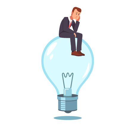 biz: Frustrated businessman sitting on a not lit idea light bulb hatching an idea. Business thinking metaphor. Flat style vector illustration clipart.