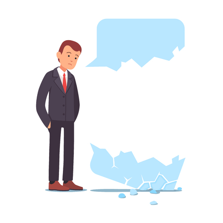 Businessman failed communication doing cold sale. Broken speech chat message bubble fall apart. Unsuccessful messaging concept. Flat style vector illustration clipart.