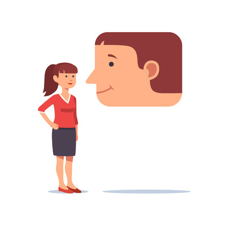 Woman talking to a friendly smiling face message speech bubble. Online relationship and remote instant chatting concept. Flat style vector illustration clipart.