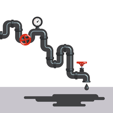 petroleum fuel: Twisting crude oil pipe line with gauge and valves. Petroleum fuel dripping from pipeline tap. Flat style vector illustration clipart.