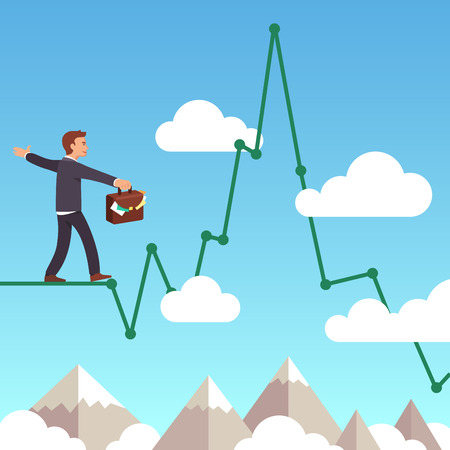 balancing: Business man balancing on a line graph rope above mountains and clouds in the sky. Risk management concept. Flat style vector illustration clipart.