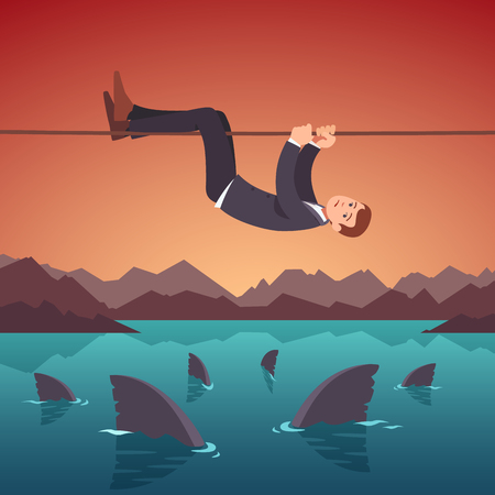 Businessman crawling over a sea of sharks holding to a tight rope. Risky project management. Business risks and difficulties concept. Flat style vector illustration clipart. Illustration