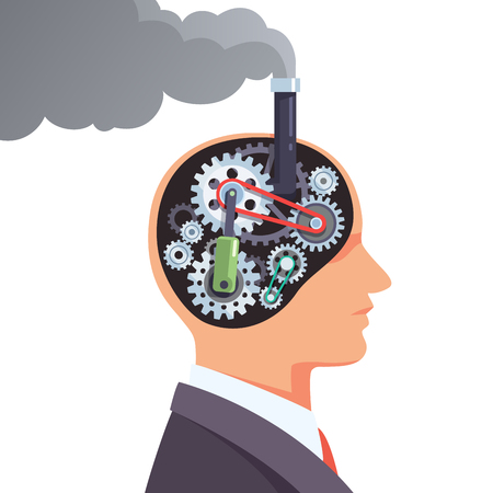 Steampunk brain engine with cogs and gears. Business man mechanical human robot head with steam going out of chimney. Flat style vector illustration clipart.