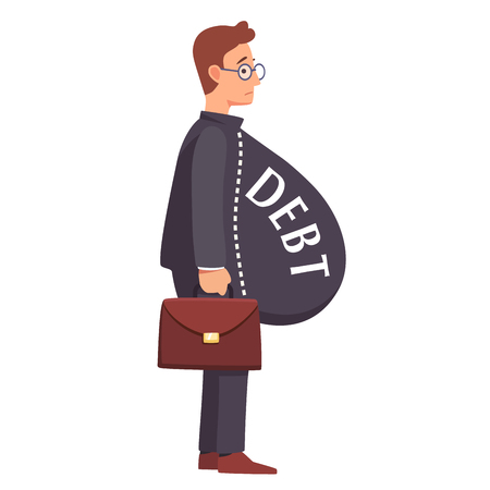 indebted: Skinny male business man with fat debt burden paunch. Fake wealth and prosperity overloaded with loans and credit debt concept. Flat style vector illustration clipart. Illustration