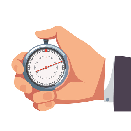 timekeeper: Businessman hand holding thumb finger on chrome stopwatch with seconds arrow. Flat style vector illustration clipart.
