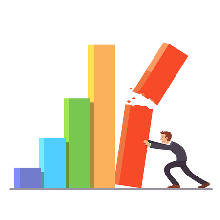 Failing growth crisis concept. Businessman trying to hold down falling and breaking bar chart column. Sales and stock market decline. metaphor. Flat style vector illustration clipart. Illustration