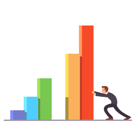 achieving: Businessman moving colorful bar graph columns achieving business sales growth. Flat style vector illustration clipart.