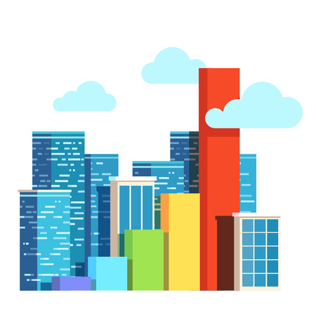 upgrowth: City growth concept. Real estate prices upgrowth bar chart. Urban territory increase. Flat style vector illustration clipart.
