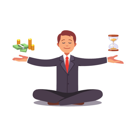 Businessman found his balance with time and money. Business man sitting and mindful meditating in lotus asana in zen peace and mental calmness. Flat style vector illustration clipart.  イラスト・ベクター素材