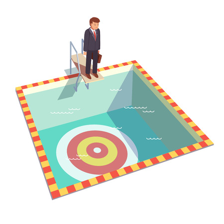 sad men: Businessman ready to dive in a pool from springboard to achieve his goal. Flat style vector illustration clipart.