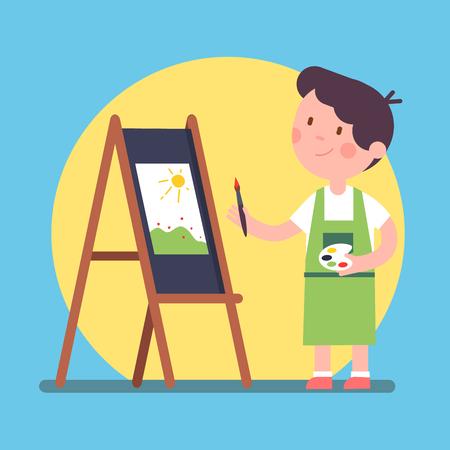 笑顔の子供アーティストの絵画のキャンバスの芸術作品。イーゼルと持株パレットとブラシの近くに立っています。カラー ペイントのレッスン。フ